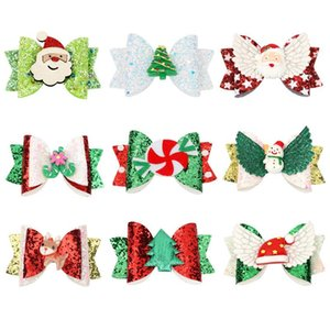 INS Hot Baby Girls Christmas Hairpin 9style Sequins Glitter Hair Clips Cute Elk Cosplay Barrettes Gretel Child Bow Hair Accessories