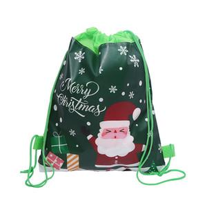 Noël Sac à cordonnet Cartoon Sacs à Noël Motif Enfants Bonbons Cadeaux de stockage Sac à bandoulière Sacs à dos Père Noël bonhomme de neige motif CCB1868