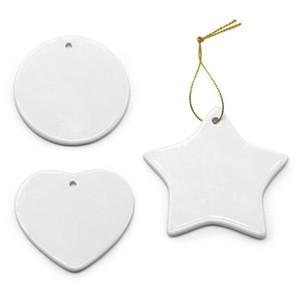Branco Sublimation Ceramic transferência Pendant criativa enfeites Calor Printing DIY Coração cerâmico Ornamento Redondo Natal Decor WY923