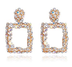 2019 Nouvelle Arrivée Vintage Boucles d'oreilles pour femmes Couleur Crystal Crystal Square Drop Boucles d'oreilles Big Boucles d'oreilles Déclaration Bohemian Bijoux