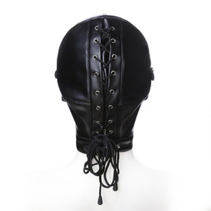 Bondage érotique Strapped capot en cuir avec BDSM Ball Gag adulte Jouer plein masque creux des yeux Fétiche visage yeux bandés pour les Jeux Couple