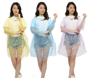 Disposable PE Raincoats Poncho Rainwear Travel Rain Coat Rain Wear gifts mixed colors Z53