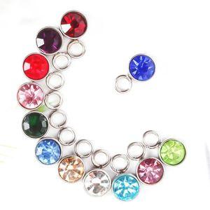12 mois de pierres d'anniversaire Charms acier inoxydable pendentif bracelet collier strass cristal rond bricolage charmes bijoux