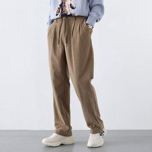 Cordelette Corduroy Mode pour hommes Retro Casual Pantalons jambe large Hommes Streetwear sauvage Hip-hop en vrac plissés Pantalons Hommes