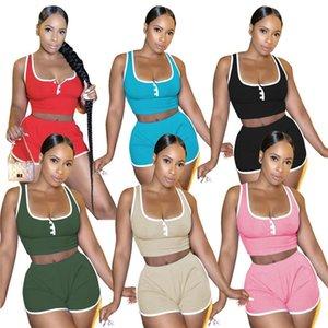 women summer tracksuit tank tops shorts 2 pcs outfits jogging suits sleeveless sweater U-neck sweatsuit sexy sportswear 2XL 6 colors 4400