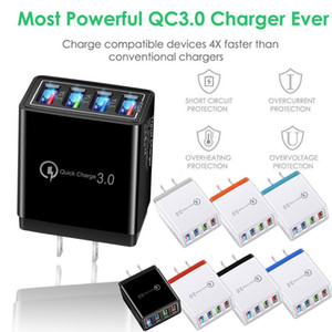 New 4 Port Fast Quick Charge QC 3.0 USB Hub de viagem carregador de parede 3.5A Power Adapter UE / US plug bateria do telefone tomada carregadores