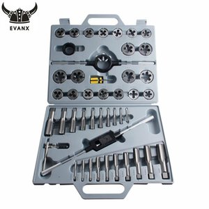 EVANX 45pcs set Tap And Die Set Inch Screw Taps Holder Thread Plug Wrench Threading Hand Tools