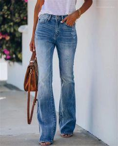 Calças Ladies Casual Calças Mulheres Gradient Blue Jeans Mid cintura Zipper Fly Bootcut