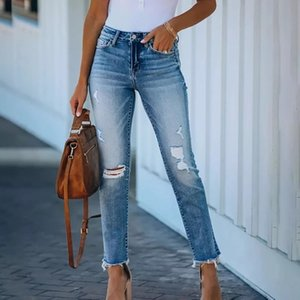 Women hole ripped jeans Women pants cool straight jeans Slim fringed pencil denim pants for ladies skinny