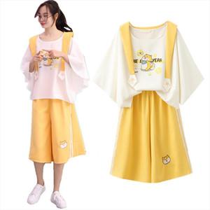 Summer Women Kawaii Sailor Collar T shirt Wide Leg Pants 2 Pcs Set Teenager Girls Cute Dog Embroidery Batwing Sleeve Tee Suit