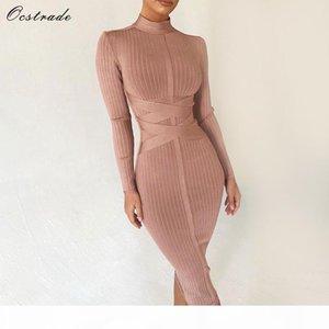 Ocstrade Bodycon Dress 2019 Nude Turtleneck Rayon Long Sleeve Bandage Dress High Quality Ribbed Womens Midi Bandage Dress Sexy J190619