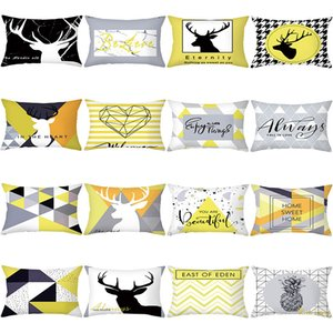 Waist Ins Nordic Velvet Peach Skin Pillow Case Office Sofa Cushion Cover Plaid Elk Pillow Case
