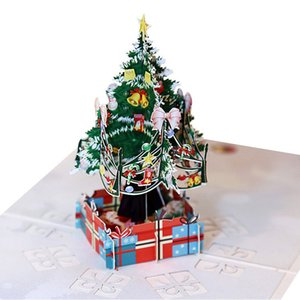 3D Pop Up Christmas Tree Print Greeting Cards Decoration Postcard Xmas Gift Thank You Paper Card
