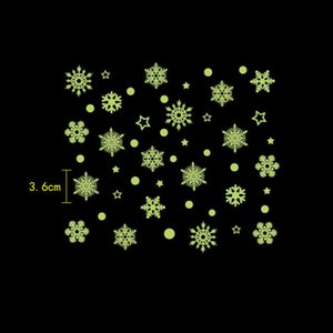 Christmas Luminous Stickers Snowflake Fluorescent Xmas Wall Sticker Merry Christmas Children's Bedroom Decoration GGB2373