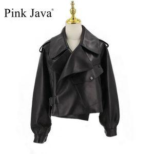 vestido de la venta caliente de color rosa de Java QC20003 capa de las mujeres de la chaqueta de cuero real de la nueva llegada de oveja genuina capa de cuero de moda de lujo 201020