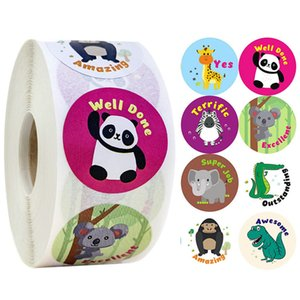500Pcs Roll Animal Reward Stickers for Kids Self Adhesive Positive Words Incentive Sticker Label Animal Shape Wall Decals