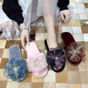 Pretty Rose flower plush slippers Cotton slippers Slip on Warm Shoes Casual Shoes for flats plush Women Home 2020
