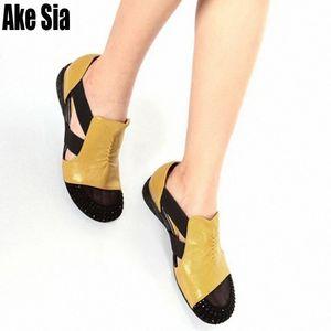 Ake Sia-Pack Runde Toed Strass Adorn Frauen-Dame Fashion aushöhlen Elastic Band Sandalen Casual Keilabsatz Sandalen Schuhe A371 Urdd #