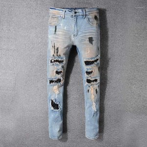 Uomini Patchwork Bandanna Paisley Stampato Biker Biker Jeans Biker Jeans Hombre Light Blue Boles Skinny Skinny Stretch Denim Pant pants1