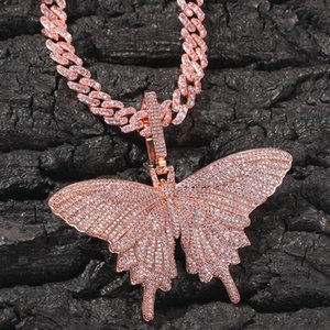 Hiphop Iced Out Pink Zircon Animal Big Butterfly Pendant Necklace Rose Gold Color Mens Hip Hop Bling Jewelry Gift