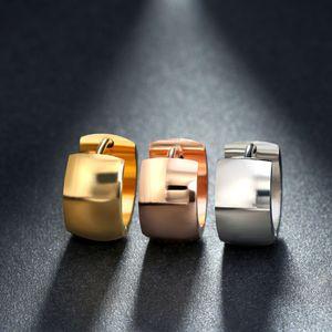 Minimalist Hoop Huggie Earrings Gold Silver Rose Gold Black Glossy Surface Round Wide Small Ear Buckle Stainless Steel Earrings Jewelry