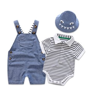 Newborn Baby Clothing Set for Boys Summer Suit Set Hat+Striped Romper+Blue Overall Suit Casual Children Boy Clothes Outfit Y200323