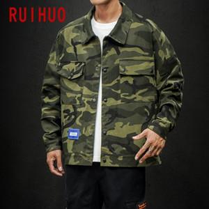 RUIHUO Camouflage Jacket Men Coat Clothes Streetwear Bomber Jacket Men Hip Hop Coat Windbreaker 5XL 2020 Autumn New