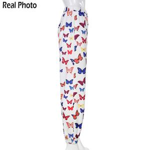 Rapwriter Fashion Butterfly Print Loose Pants Srping Women Summer Stretch High Waist Streetwear Jogger Pencil Pants Pocket 201022