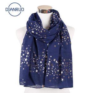 DIANRUO 2020 New Fünf zackigen Stern Schal Himmel-Stern-Druck-Muster Gilts Schal Thin Schal moslemisches Hijab DIANRUO Q326