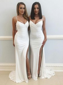Sexy Mermaid Bridesmaid Dresses Long 2021 Spaghetti Straps Pleats Side Slit Formal Evening Gowns Wedding Guest Maid Of Honor Dress AL7313