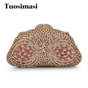 Pink rhinestone clutch bag Luxury crystal clutch evening bag diamond banquet wedding pochette party purse(88213-PP)