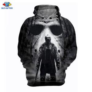 SONSPEE Michael Myers Mask Meet Jason 3D Print Sweatshirts Halloween Horror Movie Long Sleeve Streetwear Hoodies Free Shipping 201021