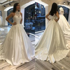 Satin A Line Wedding Dresses with High Cut Halter Neckline Embroidered Bodice Sheer Neck Lace Wedding Dress Bridal Gowns