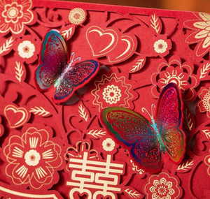(30 Pieces lot) Traditional Overseas Chinese Red Wedding Invitation Card Laser Cut Butterfly Marriage G sqcCdm dh_seller2010