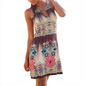 Backless Party dress Casual Women Halter Neck Boho Print Sleeveless Casual Mini Dresses ladies spaghetti strap Sundress vestido