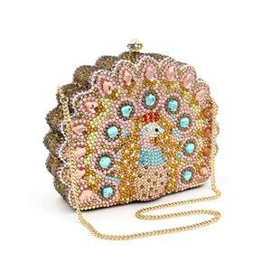 New Design Peacock Shape Evening Bag gold Crystal Luxury Clutch Bag full Diamond wallet Ladies Handbags Party Purse Wedding