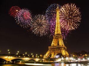 Eiffelturm Paris Feuerwerk Vinyl Fotografie Kulissen Stadt Nachtlichter für Kinder Photo Booth Hintergründe für Romantische Hochzeit Studio Props
