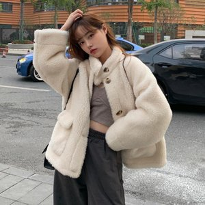 Lucyever Sweet White Faux Fur Coat Women Winter Thick Warm Stand Collar Furry Overcoat Korean Style Button Faux Fur Jacket New