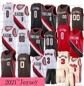 2021 Novo Carmelo 00 Anthony Basketball Jersey Mens Damian 0 Lillard CJ 3 McCollum Rip City Camisa