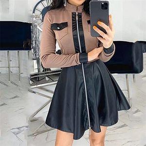 Осень зима полные молнии мини-платье женские A-Line Splicing кожаное сексуальное платье для женщин BodyCon короткое платье Vestidos Full 201028