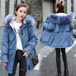 2020 New Fashoin Thick Loose Medium Long Winter Jacket Women Casual Big Pocket Fur Hooded Military Parka Coat Female