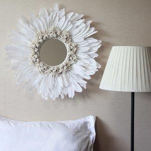 Macrame Feather Wall Hanging Spiegel Moderne Handgemachte Tapisserie Feder Glasspiegel Wand Dekorative Spiegelspiegel Espejos Decorativos Y200114