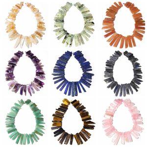 Top Drilled Natural Quartz lazuli Labradorite minerals Slice Point Beads Cut Crystal Stick Pendants Jewelry making Crown Q1106