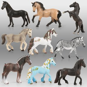 Forest Wild Steed Grath Animal Models الأمريكية Clydesdale الحصان محاكاة الحصان التماثيل عمل أرقام مجموعة أطفال اللعب 201202