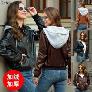 Rebicoo New Fashion Handsome Jacket Hooded Detachable PU Leather Coat Locomotive Zipper Cardigan Coats