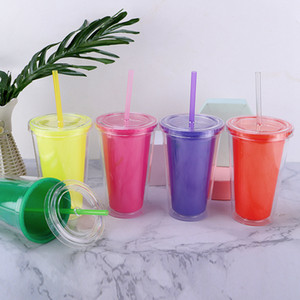 16oz Color Changing Cup Magic Plastic Reusable Drinking Tumblers With Lid Straws Beer Mugs Double insulation Coffee Cups GH1395