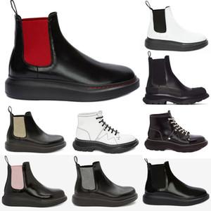 alexander mcqueen mcqueens mc queen mqueen  Chunky Sola Ondulado Oversized Borracha Rodada Toe Plataforma Preta Bezerro Couro Pull-On Ankle Boots Sapatos