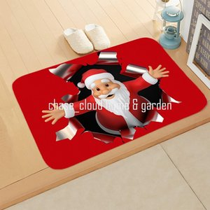 Jubilance Red Christmas Snowman Santa Claus Bedroom Corridor Carpet Non-Slip Soft Door Mat Suitable For Living Room and Kitchen