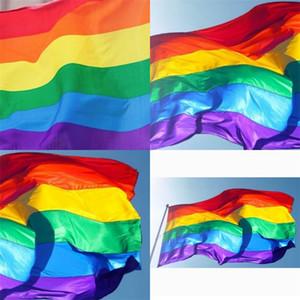 90 × 150 سنتيمتر rainbow flag ستة ألوان شريطية الأعلام الكبيرة فناء تزيين الجو راية الساخن بيع جديد 4 8HM F2