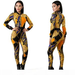 2018 Jumpsuit Women Chain Printed Rompers Zip Front Sexy Bodycon Bodysuit Party Overalls Club Wear Jumpsuit S M L XL Free DHL